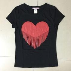 Fashion Tassel Heart T-Shirt T Shirt Diy, Cut Shirts, Flower Dresses, Neck T Shirt, Tassels, Shirt Designs, Short Sleeves, Denim Jackets, T Shirts For Women