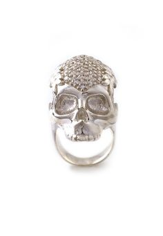 Protruding from the finger to the height of 2.3cm the New Skull ring is available in Sterling Silver, Gold and black with Swarovski crystals encrusted into the crown of the skull.