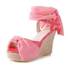 Zapatos de mujer - Tacón Cuña - Cuñas / Punta Abierta / Plataforma / Talón Descubierto - Sandalias - Vestido - Semicuero -Negro / Rosa / 2016 – $467.31
