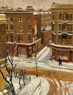 Noel Kilgour (Australian, Snow in London, 1939 London Snow, London Art, Paintings I Love, Beautiful Paintings, Oil Paintings, London Painting, Street Painting, Painting Snow, Urban Painting