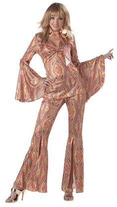 This groovy number can add some sparkle to everyone's day! Perfect for that '70s dance party, Halloween, or a themed event, this fabulous suit features a glitzy, multi-colored top with a fitting bodic