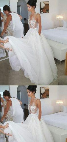 e6abe5c142 Sweetheart A-line Sequined White Chiffon Wedding Dresses.Cheap ...