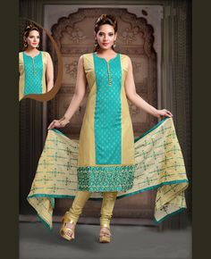 Women s Clothing - Festival Wear Readymade Turquoise Art Silk Salwar Suit - 78345 - PRODUCT Details : Style : Readymade Salwar Suit, Straight Cut, Churidar Sui Indian Salwar Kameez, Churidar Suits, Festival Wear, Festival Outfits, Designer Salwar Suits, Party Wear Dresses, Indian Ethnic Wear, Indian Designer Wear, Indian Dresses