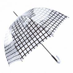 Paraguas transparente largo estampado cuadros