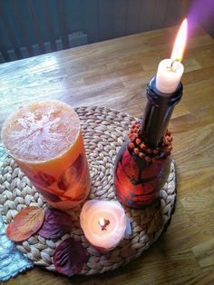 Decorate your plain candles using all your favorite fall finds!