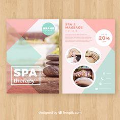 Spa studio poster with a photo Free Vect. Spa Logo, Spa Brochure, Brochure Design, Business Brochure, Spa Design, Graphic Design Flyer, Flyer Design, Vector Design, Creative Advertising