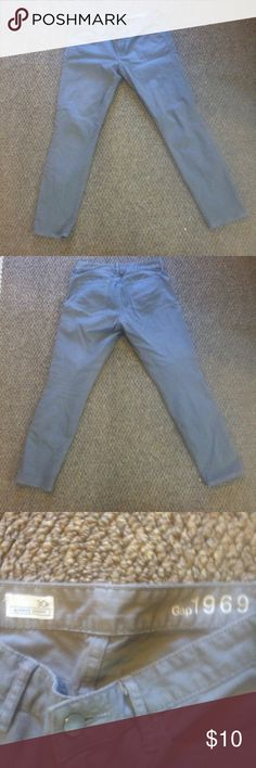 "GAP Grey Jeans with Sheen! Gray jeans from the Gap- style ""Always Skinny"" from their 1969 line, size 30 R. There is a bit of sheen on the pants- basically on the seams as shown in the last pic, makes them a little something special! GAP Jeans Skinny"