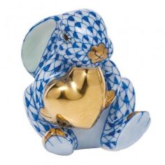 Herend Bunny with Heart - Sapphire