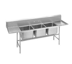 "Advance Tabco Regaline Sink three Cmpt. 20"" - 94-23-60-36RL    Regaline Sink, three compartment, w/left & right-hand drainboards, 20"" front-to-back x 20"" W compartment, 14"" deep, with 11"" high splash, s/s open frame base, boxed crossrails, 36"" drainboards, s/s bullet feet, 14/304 stainless steel, overall 27"" F/B x 139"" L/R"