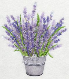 French Lavender in Pail design (K8330) from www.Emblibrary.com