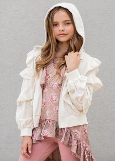 Aja Hoodie in Cream – Joyfolie Sash Belts, Fall Wardrobe, Flower Girl Dresses, Ruffle Blouse, Cream, Hoodies, Stylish, Wedding Dresses, Long Sleeve