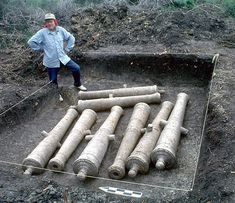 Recently discovered ... LaSalle's Fort St Louis along the Texas gulf coast.  Photo of French cannons, buried by the Spanish at Fort St Louis in 1689.  Mentioned in historical records, the cannon were uncovered on a private ranch in Victoria County by archeologists from the Texas Historical Commission, finally confirming the site's identity.