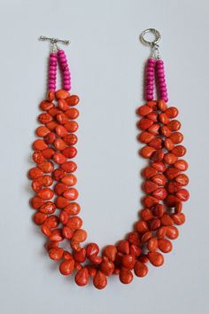 ON SALE 40% OFF Whitney necklace - Modern & Preppy.  Tangerine orange teardrop shaped howlite beads with bright pink stone disc beads