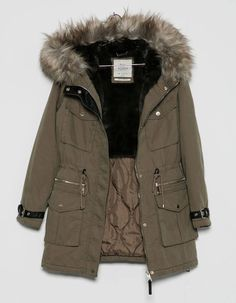 Discover this and many more items in Bershka with new products every week Green Parka, Green Jacket, Vest Jacket, Hooded Parka, Parka Coat, Hooded Jacket, Fall Winter Outfits, Winter Fashion, Snow Outfit