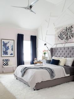 Bedroom Modern Glam Bedroom with Gray Tufted Headboard - Love the blending of modern and glam with a little downtown edge!Modern Glam Bedroom with Gray Tufted Headboard - Love the blending of modern and glam with a little downtown edge! Glam Master Bedroom, Girls Bedroom, Bedroom Ideas, Bedroom Modern, Diy Bedroom, Bedroom Inspiration, Bedroom Designs, Master Bedrooms, Master Bathroom