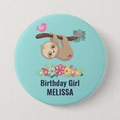 sloth, cute sloth, animal illustration button | Zazzle.com Hanging Upside Down, Hand Drawn Flowers, Pink Bird, Custom Buttons, Rose Bouquet, Sloth, Girl Birthday, How To Draw Hands, Doodles