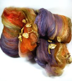 Autumnal Shadows Wild Card Bling Batts for Spinning by yarnwench, $24.00