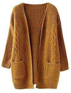 Women's Cardigans - Futurino Women's Cable Twist School Wear Boyfriend Pocket Open Front Cardigan (One Size, Brown) at Women's Clothing store: Winter Mode Outfits, Winter Fashion Outfits, Winter Outfits, Autumn Fashion, Long Knit Cardigan, Poncho, Loose Sweater, Brown Cardigan, Open Cardigan