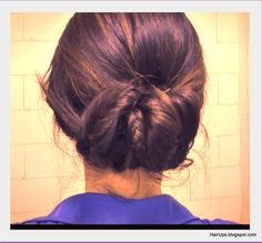 Elegant, easy hairstyles, hair tutorial: Fishtail Braided Sock Bun Chignon Updo Coiffure on Medium Long Hair (tags: wedding hairstyles, homecoming, prom, formal occasion, party hair, for work.