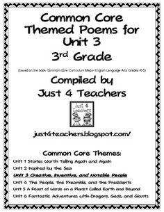 A compilation of poems that are suggested by Common Core ELA 3rd Grade for Unit 3/Creative, Inventive, and Notable People4 poems/7 pages***Please note: Activities are not included.  Only the poems.