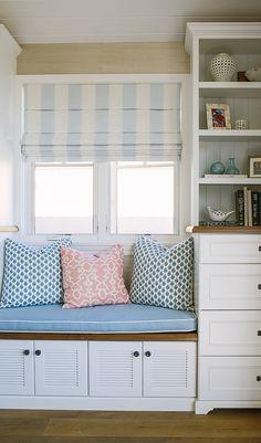 Window seat bookcase. Beach house Window seat bookcase ideas. #Windowseat #bookcase #beachhouse Rita Chan Interiors.