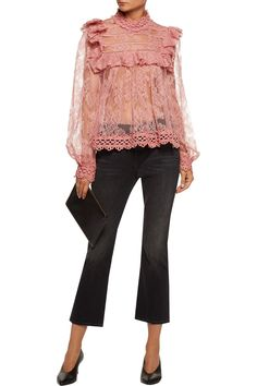 Shop on-sale Zimmermann Ruffle-trimmed embroidered lace blouse. Browse other discount designer Tops & more on The Most Fashionable Fashion Outlet, THE OUTNET.COM