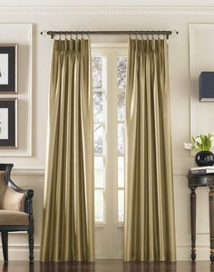 Marquee Faux Silk Pinch Pleat Drapery / Curtainworks.com, my curtains for livingroom, sand color, but look more taupe to me.