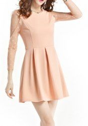 $9.11 RufflesVoile Stitching Cotton Blend Polka Dot Casual Ladylike Women's Dress