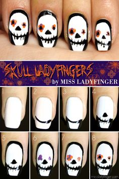 Skull Ladyfingers, Halloween Nail Art