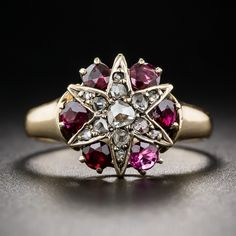 Victorian Diamond and Ruby Star Ring