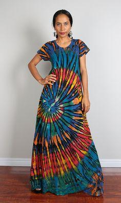 Tie Dye Maxi Dress / Long Sexy Boho Cotton Maxi Gown : by #Nuichan #shopping #bitcoin