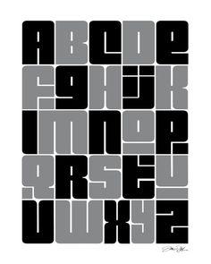 Alphabet Art Modern Black Gray Teachers ABC's Children Baby Nursery Kids Office Home Decor Typography Graphic Design Industrial Edgy Urban on Etsy, $20.00