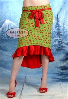 "Broad Minded Clothing - ""Cherry Struck a Chord with Me"" Soft Olive Velveteen Corduroy Low Waisted Bustle Skirt"