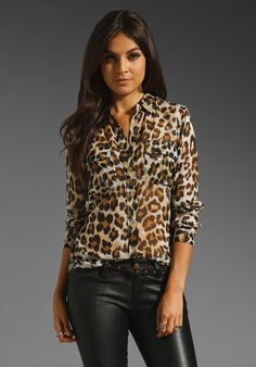 Leopard Blouse with mint green jeans - could be cute right?