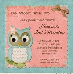 Include an optional photo of the party owlet, with her favorite colors, personalized text and custom graphics to suit your own daughter's celebration. For the featured version of this card design, trendy coral is paired with a dusky washed aqua blue for a beautiful, up to date design! Rich brown accents find their place in the bow-like graphic & on all of your custom wording. Have another style in mind? Just request it!