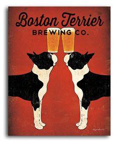 'Boston Terrier Brewing' Wall Art
