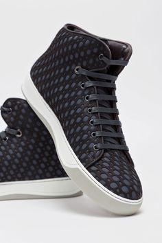 Lanvin Laser Cut Mid Top Sneaker Black   Dark Grey. Shoe Wall a579a3576f9