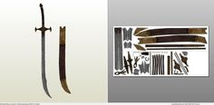 Papercraft .pdo file template for Dark Souls - Scimitar and Sheath.