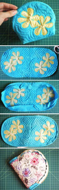 Hawaiian Style Cosmetic Bag. Photo Sewing Tutorial. Step by step DIY http://www.handmadiya.com/2016/01/awaiian-quilting-cosmetic-bag.html