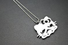 Storm Kitty White Acrylic Necklace by Hello Wars