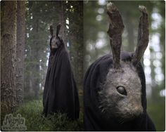 Dark Scary Rabbit Mask Creepy Bunny Hare by Nymla on Etsy Larp, Creepy Masks, Bunny Mask, Looks Black, Arte Horror, Masks For Sale, Costume Makeup, Monster, Paper Clay