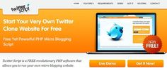 Free Twitter Script - Free Twitter Clone - Free PHP Micro Blogging Social Networking Script    Via Scoop.it - formation 2.0    Twitter Script is a free revolutionary PHP software that allows you and run your own micro blogging site just like Twitter.