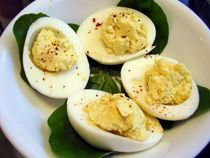 Hard-cooked eggs keep 1 week in fridge - try this easy recipe for deviled eggs.