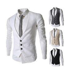 Men Fashion Dress Vest for Suit or Tuxedo Top 3 Buttons Vests