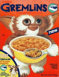 All about Gremlins Cereal from Ralston - pictures and information including commercials and cereal boxes if available. You can vote for Gremlins or leave a comment. 80s Food, Retro Food, Cornflakes, Cereal Killer, 80s Movies, Fiction Movies, Horror Movies, Science Fiction, Breakfast Cereal