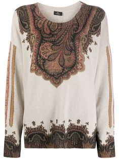Cashmere Wool, Paisley Print, Scoop Neck, Construction, Boutique, Long Sleeve, Sleeves, Shopping, Tops