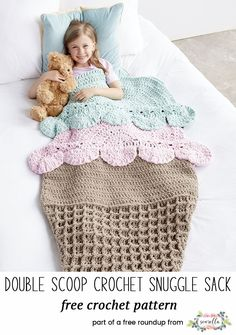 Crochet this cute double scoop ice cream snuggle sack blanket afghan for kids and adults from my free pattern roundup! (similar to the mermaid tale blanket craze)
