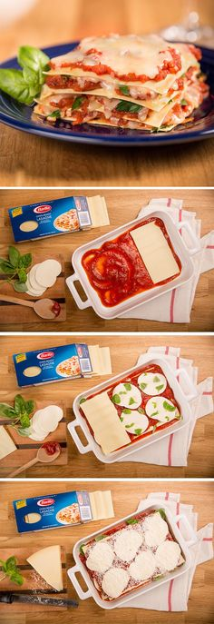 Lasagna dinner in just a few easy steps. Nothing but layers of pasta, ricotta cheese, and sauce baked to perfection.