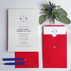 personalised emblem letterpress wedding invitation by wolf & ink | notonthehighstreet.com