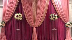 DIY- how to create a double backdrop – Diy Wedding 2020 Wedding Draping, Wedding Reception Backdrop, Wedding Mandap, Wedding Cake, Anniversary Party Decorations, Wedding Stage Decorations, Backdrop Decorations, Backdrop Ideas, Mehendi Decor Ideas